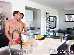 Twink gets seduced and fucked hard in kitchen