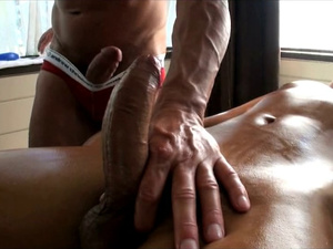 Naughty masseur got a sex toy to excite his gay clients