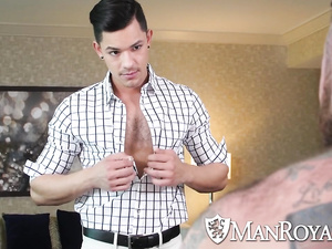 Sissy handsome twink undresses in front of hungry hunk