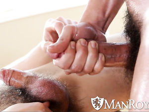 Bearded sexy twink gets pleasantly fucked on massage couch
